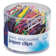 Giant Colored Vinyl Coated Paper Clips (tub of 200)