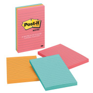 "Post-It® Notes Lined, Bright colors, 4""x6""  (pack of 3)"