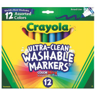 Crayola® Washable Markers, Conical Tips  (box of 12)