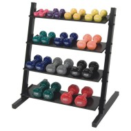 Vinyl Dumbbell Set with 4-Level Rack