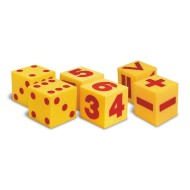 "5"" Giant Dot, Numeral & Operational Soft Foam Cubes (set of 6)"