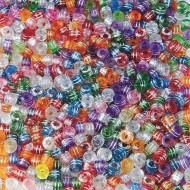 Metallic Striped Pony Beads 1/2-lb Bag (bag of 825)