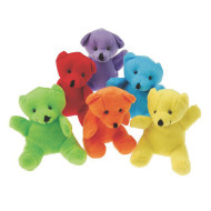"Plush Mini Bears, 4-3/4"" (pack of 12)"