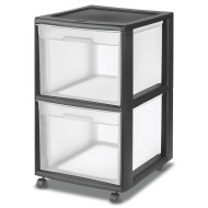 2-Drawer Plastic File Cart