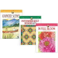 Creative Haven® Coloring Books: Quilts, Blooms, Country (set of 3)