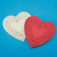 Heart-Shaped Paper Lace Doilies, 6""