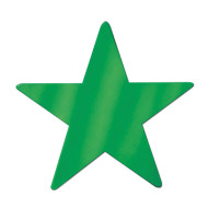 Decorative Foil Star, Green (pack of 24)