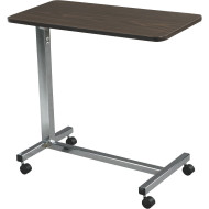 Non-Tilt Top Overbed Table with Silver Vein Base