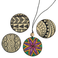 Printed Wood Pendants (pack of 48)