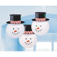 Snowman Lantern with Hat (pack of 3)