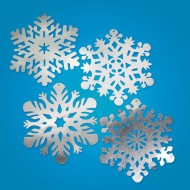 "14-1/4"" Silver Foil Snowflakes  (pack of 24)"