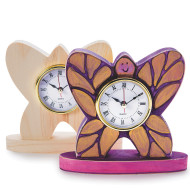 Unfinished Wood Butterfly Clock (pack of 6)