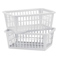 Plastic Storage Basket Tray, White (pack of 2)