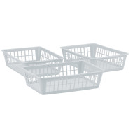 Small Plastic Storage Basket Tray, White (pack of 3)