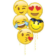 "18"" Emoji Mylar Balloon Assortment (pack of 10)"