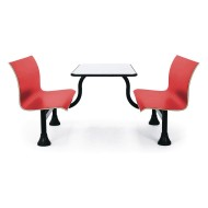 Retro Red Bench With Stainless Steel Tabletop