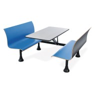 Retro Blue Bench With Stainless Steel Tabletop