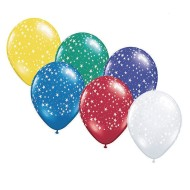 "11"" Stars Around Balloons, Assorted (bag of 50) (bag of 50)"