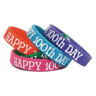 Happy 100th Day Wristbands (pack of 10) (pack of 10)