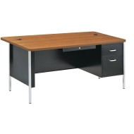 Single Pedestal Desk Black With Oak Top