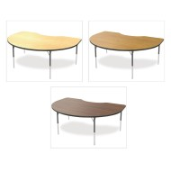 "Marco® Activity Tables, Wood Top Kidney, 48"" x 72"" x 21-30""H"