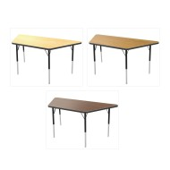 "Marco® Activity Tables, Wood Top Trapezoid, 30""x60"" 21-30""H"