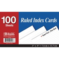 "3"" x 5"" Ruled Index Cards (pack of 100) (pack of 100)"