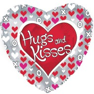 "17"" Heart Shaped ""Hugs And Kisses"" Mylar Balloon (pack of 10)"