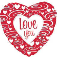 "17"" Heart Shaped ""Love You"" Mylar Balloon (pack of 10) (pack of 10)"
