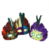 Assorted Feather Masks (pack of 12) (pack of 12)