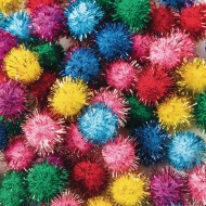 "Glitter Pom Poms, 1/2"" (pack of 80)"