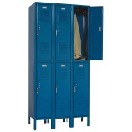 "Two-Tier, 3-Wide, 12""x12""x72"" Solid-Door Metal Lockers"