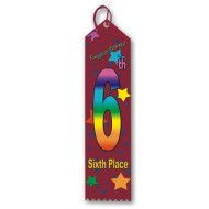 6th Place Multicolor Ribbon Pack of 25 (pack of 25)