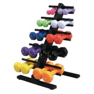 Vinyl Coated Dumbbells with Floor Rack