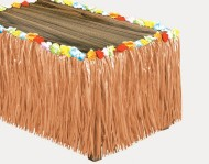 Luau Table Skirt with Flower Raffia, 9