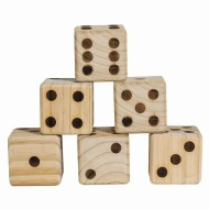 Jumbo Wood Dice with Storage Bag, Set of 6 Dice