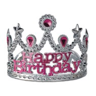 Plastic Happy Birthday Tiaras (pack of 12)