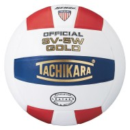 Tachikara® SV-5W Leather Volleyball, Red/White/Navy