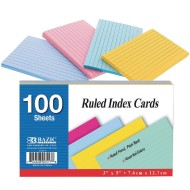 "3"" x 5"" Bright Colored Ruled Index Cards"