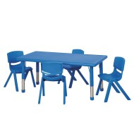 "Rectangular Resin 48"" Adjustable Activity Table and Chair Set"