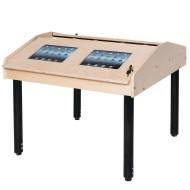 Four Station Two Sided Technology Table with Adjustable Legs