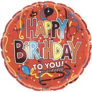 "17"" Happy Birthday Mylar Balloons, Festive Red"