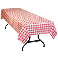 "Table Mate® 54"" x 108"" Red Gingham Plastic Table Cover Value Pack (pack of 12)"