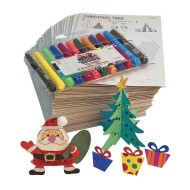 COLOR ME CARDBOARD SANTA AND TREE PK48