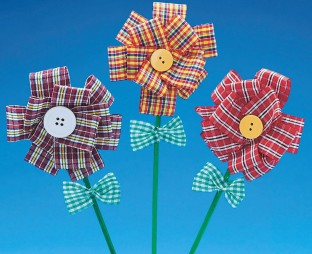 FABRIC BUTTON FLOWERS PK12