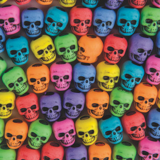 Assorted Color Skull Beads 1/4 lb Bag