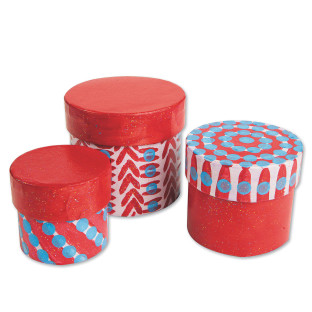Paper Mache Nested Boxes - Round