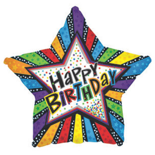 Happy Birthday Stripes Star Mylar Balloons