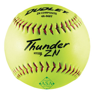 DUDLEY SOFTBALL ASA YELLOW COVER RED STITCH