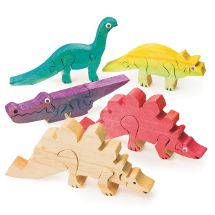 Unfinished Wooden Animal Puzzles - Dinosaurs
